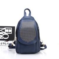 Ransel Wanita Stud Ghotic Bag pack Tas Blue Import