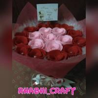 Jual buket bunga flanel mutiara + bulu Murah