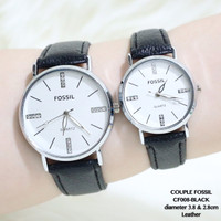 Jam tangan couple fossil sepasang tali kulit leather grosir guess/alba