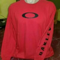 tshirt oakley,kaos lengan panjang oakley merah