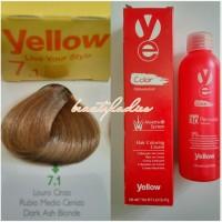 Yellow Hair Color 7.1 Dark Ash Blonde 100 ML1