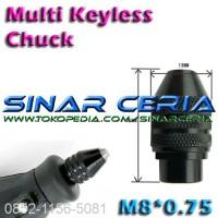 Multi Chuck Keyless Tanpa Collet Utk Mini Grinder Bor Dremel M8x0.75-2