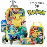 Jual Tas Trolley Anak Pokemon Kaca mata 3D 5in1 Murah