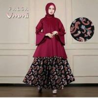 vbn setelan st hijab muslim syari falsa ummi maroon / baju wanita maxi