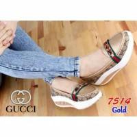 sepatu wedges gucci gold