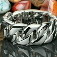 Jual Bracelet Chain Titanium Silver Big Size Gelang Pria Rantai Besar 316L Murah
