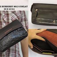 HANDBAG COWOK BRANDED BURBERRY 8013 COKLAT (DOMPET TAS PRIA MURAH)