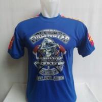 Kaos pemadam biru fire fighter ~ tengkorak