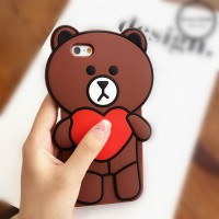 Xiaomi Redmi 3 3S Silicon 3D Teddy Brown Line Love Softcase Casing Hp