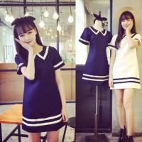 TSD1345-Blue mini dress kawaii biru strip putih import terusan jepang