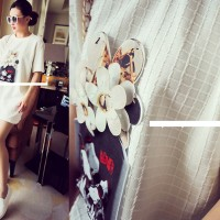 TSD1348-White short dress big blouse import unik textured emboss