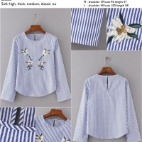 42271 Stripe Embroidery Flowers Blouse / Blouse Garis Biru Bordir