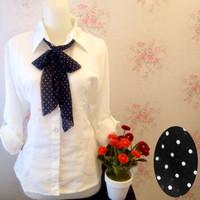Jual Kemeja blus putih polos wanita zara lembut dasi scarf ceruti Murah