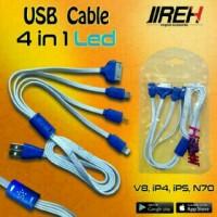 jireh kabel charger cumi HP nyala 4 in 1 samsung, ip 4, ip 5, Nokia