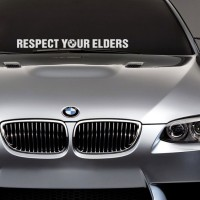 Sticker Mobil BMW Respect Your Elder Straight