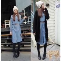 TSD1290-Blue+Belt , denim long dress, bahan jeans asli, lengan panjang