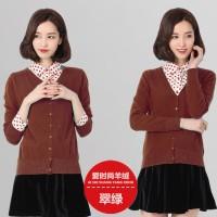 TSO1239-Coffee , cardigan basic cokelat lengan panjang casual