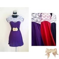 TSD1232-Purple+Belt , dress ungu, gratis belt, spandek lace / renda