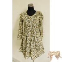 TSD1252-Green , mini dress motif full flower, lengan panjang