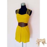 TSD1300-Yellow+Belt , dress sexy, gratis belt, bahu tali silang