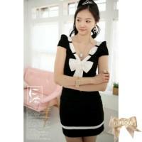 TSD1269-Black , dress/terusan cantik warna hitam aplikasi pita lengan