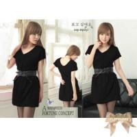 TSD1212-Black , mini dress, lengan pendek, aplikasi 6 kancing bagian d