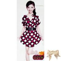 TSD1220-Pink+Belt , motif polkadot, leher model drapery, free belt