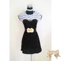 TSD1248-Black+Belt , dress hitam, gratis belt, spandek lace / renda