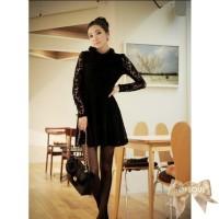 TSD1255-Black , import, mini dress, long sleeve, full lace lining, rab