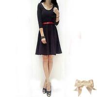 TSD1286-Purple+Belt , pakaian/dress ungu, lengan panjang, bahan tebal,