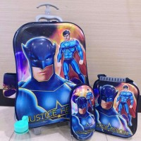 Jual Tas Trolley Anak 6D 4 in 1 Set Batman V Superman Murah