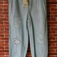 celana jeans wanita aplikasi sobek-sobek dan stik balik