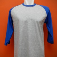 Kaos Polos Raglan Cotton Combed 20's Abu Misty-Biru Benhur XL