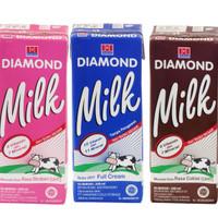 Susu DIAMOND UHT 200 ml, rasa strawberi, coklat dan full cream (plain)