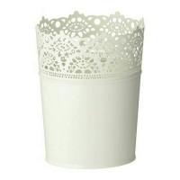 IKEA SKURAR Pot Tanaman Diameter 10.5cm, Putih pudar, dalam/luar ruang