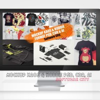 Mockups & Template Desain Kaos/T-shirt Apparel Format PSD, CDR & Ai