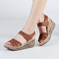 Sandal wedges motif laser TAN sendal wedges sepatu sandal wanita