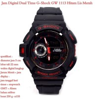 JAM TANGAN PRIA CASUAL SPORTY CASIO GSHOCK GW 1113 BLACK LIS RED