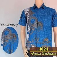 Jual Kemeja hem batik pria wayang tunggal biru cantik Murah