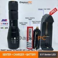 Jual PAKET Senter E17 LED Cree XM-L T6 2000 Lumens + Battery + Charger Murah
