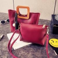 Tas Wanita Import C91755 Red 2in1 Bag Korea Fringe Rumbai Mutiara H&M
