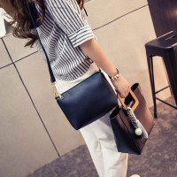 Tas Wanita Import C91755 Black 2in1 Bag Fringe Pearl Rumbai Office H&M