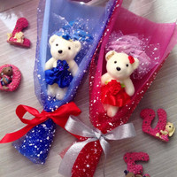 Jual Buket bunga Boneka Valentine/ Kado Wisuda/ Kado Anniversary 1bo+3bunga Murah