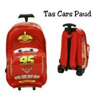tas sekolah trolley anak Paud model mobil cars merah best seller