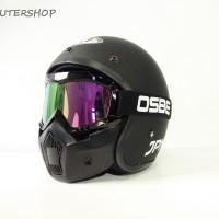 Helm Retro Jap Style Klasik JPN ARC Black Doff + OSBE Google Mask