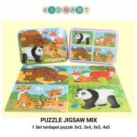 Puzzle Jigsaw Kayu Mix 4 in 1 JK02 Kotak Tepak Kaleng Mainan Anak