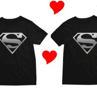 Kaos Couple Valentine - Superman Logo Silver - By Crion