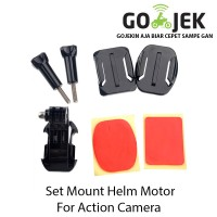 Set Mount Helmet Helm Motor For Gopro, Brica, Xiaomi Yi, Kogan