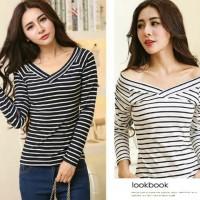 blouse atasan cewek salur garis strip hitam putih panjang santai