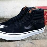sepatu pria sneaker vans sk8 high original premium full black sol whit